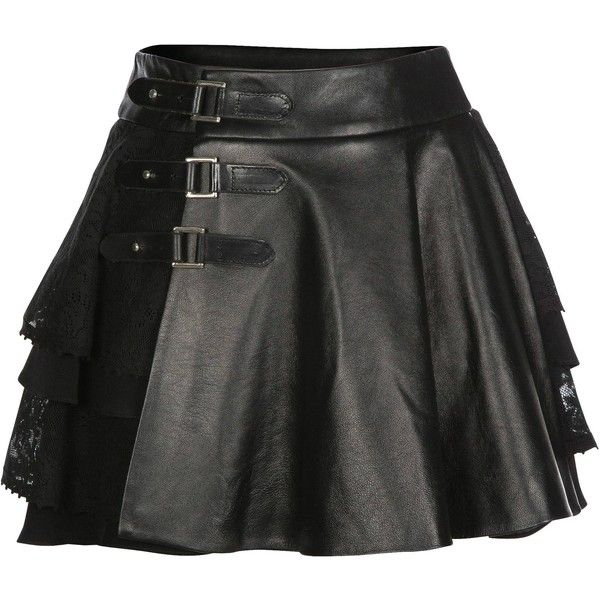 Mairi McDonald - Cherie Lace & Leather Kilt ($745) ❤ liked on Polyvore featuring skirts, knee length lace skirt, lacy skirt, panel skirt, real leather skirt and leather skirt
