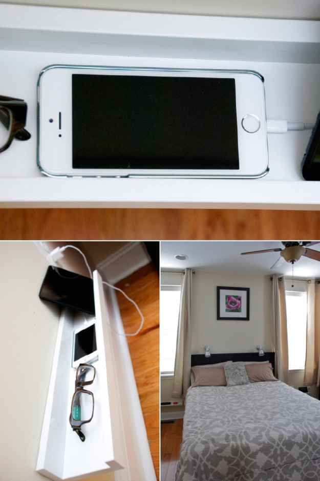 Use a picture ledge next to or behind your bed for phones and glasses.