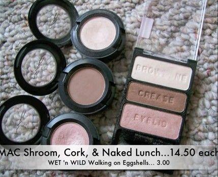 Makeup dupes: Wet n Wild Walking on Eggshells Coloricon Eyeshadow Palette vs. MAC Eyeshadows in Shroom, Cork, and Naked Lunch. Photo by emilynoel83. (Link leads to her video.)