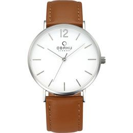 OBAKU Mark - mocha // stainless steel watch with a brown leather strap