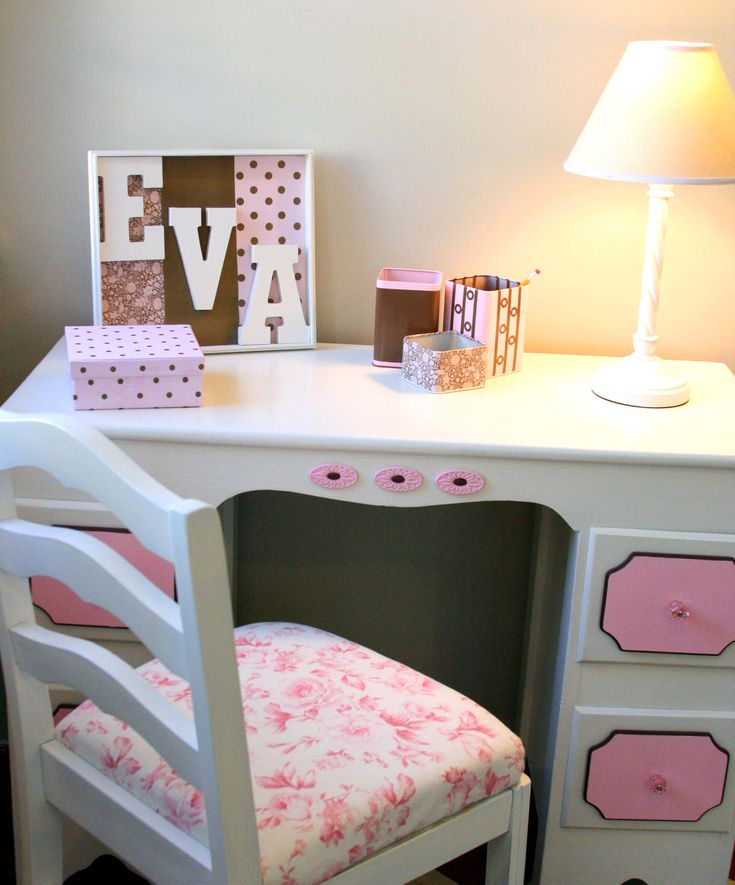 Bedroom : Pretty white pink stained wooden material study desk for girl and drawer storage - 15 Study Desk for Pretty Girl Room Decorating