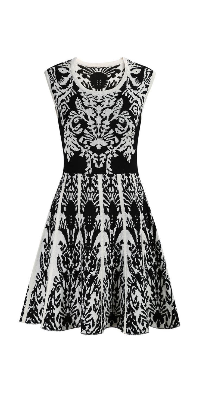 Black Sleeveless Vintage Floral Knit Dress