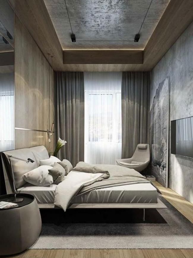 Cool Masculine Bedroom for Mens Gray Colors with Curtain for Small