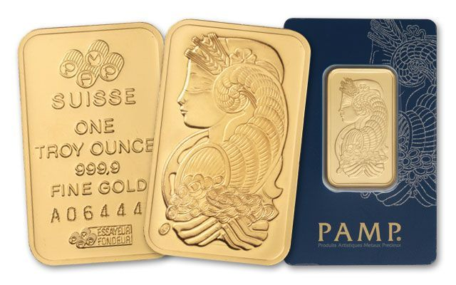 Pamp Suisse 1 Oz Gold Bar In Assay Card Govmint Com Gold Bar Gold Cost Gold Ounce
