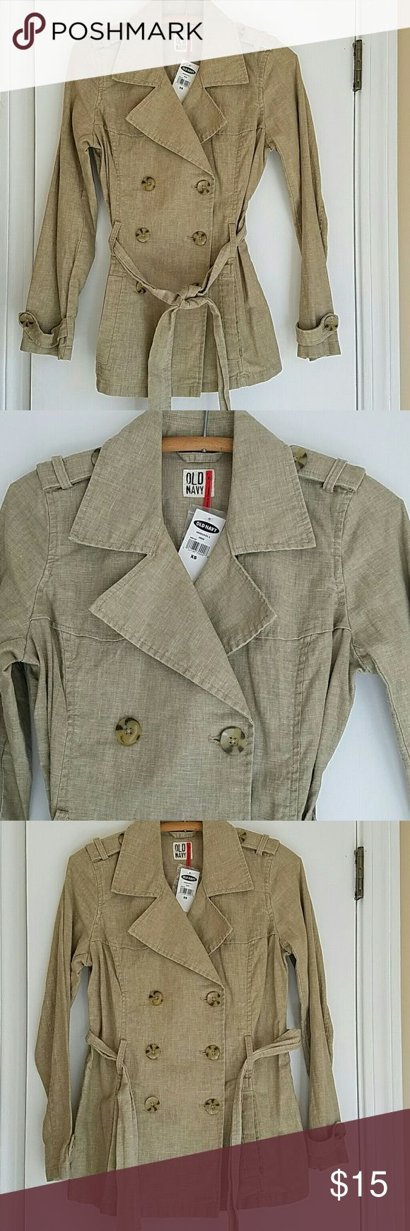 NWT Old Navy Linen Safari Trench Coat Brand new linen belted safari jacket in tan khaki color. Perfect with jeans,  pencil skirt or even over a dress. Unlined and lightweight perfect for spring. Old Navy Jackets & Coats Trench Coats