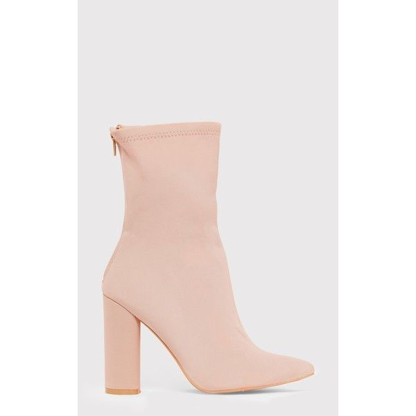 Addie Nude Neoprene Pointed Sock Boots (67 AUD) ❤ liked on Polyvore featuring shoes, boots, pink, neoprene shoes, nude boots, pointed shoes, pointy shoes and nude footwear