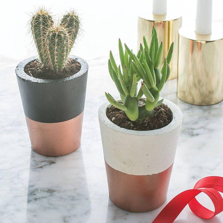 Copper Dipped Cement Plant Pot