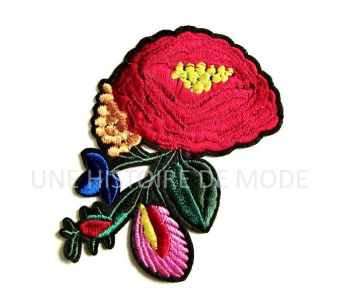 Patch thermocollant fleurs avec feuilles à coudre ou repasser 117 x 80 mm - applique fleur couture - écusson fleur à repasser : Déco, Customisation Textile par une-histoire-de-mode