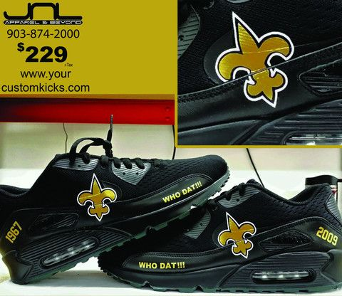 ... Custom New Orleans Saints AirMax90 GoldLeaf Edition Shoes – JNL Apparel  ... b810a8741b74