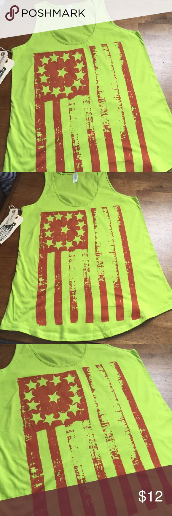 NWT Americana Tank NWT Americana neon like green flag tank!! Has fun contrasting orange-red print across the front and full coverage fitted tank style. Sizing is juniors and material is 100% cotton. Original cowgirl Company Tops Tank Tops