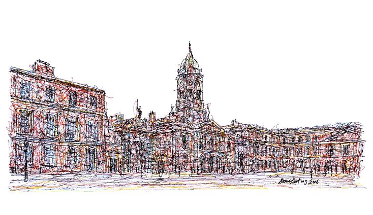 Dublin Castle: Original Impressionistic Ink Drawing on Clairefontaine 83 Lb. Fine Grain, Acid Free White Paper . Overall Paper… #IrishArt