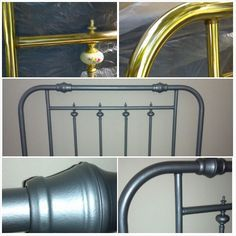 Ugly brass headboard makeover. Textured spray paint for a hammered metal effect.