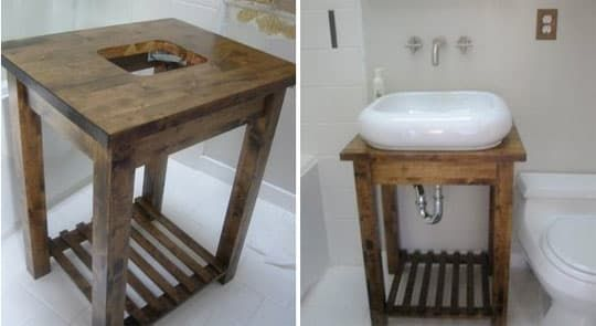 What to do when you when you want a $900 bathroom table and sink, but are on a limited budget? Get hackin' of course. Ikea hacker Karen took an Ikea Bekvam kitchen cart for $49.99, took a sabre saw to it, installed a sink, stained/sealed it, and then added all the necessary plumbing...