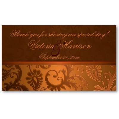Copper and brown business cards    A great way to thank wedding guests and share your new address!