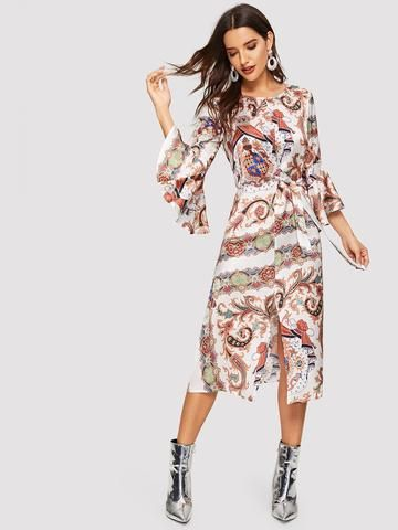 9172352948 Scarf Print Flounce Sleeve Knot Front Split Dress