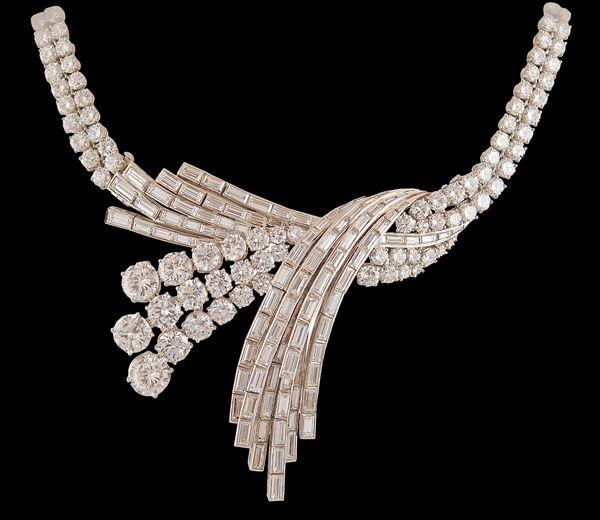 Circa 1950's STERLE' Platinum Diamond Necklace - Yafa Jewelry
