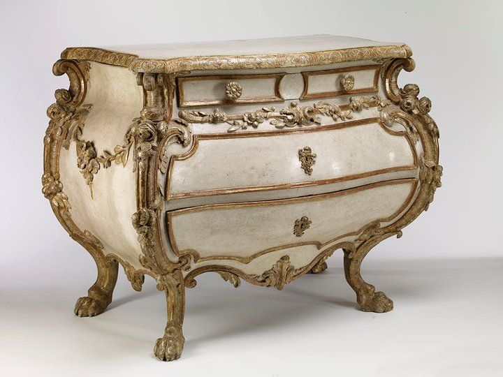 German Rococo Painted And Parcel Gilt Commode Paintings Pinterest