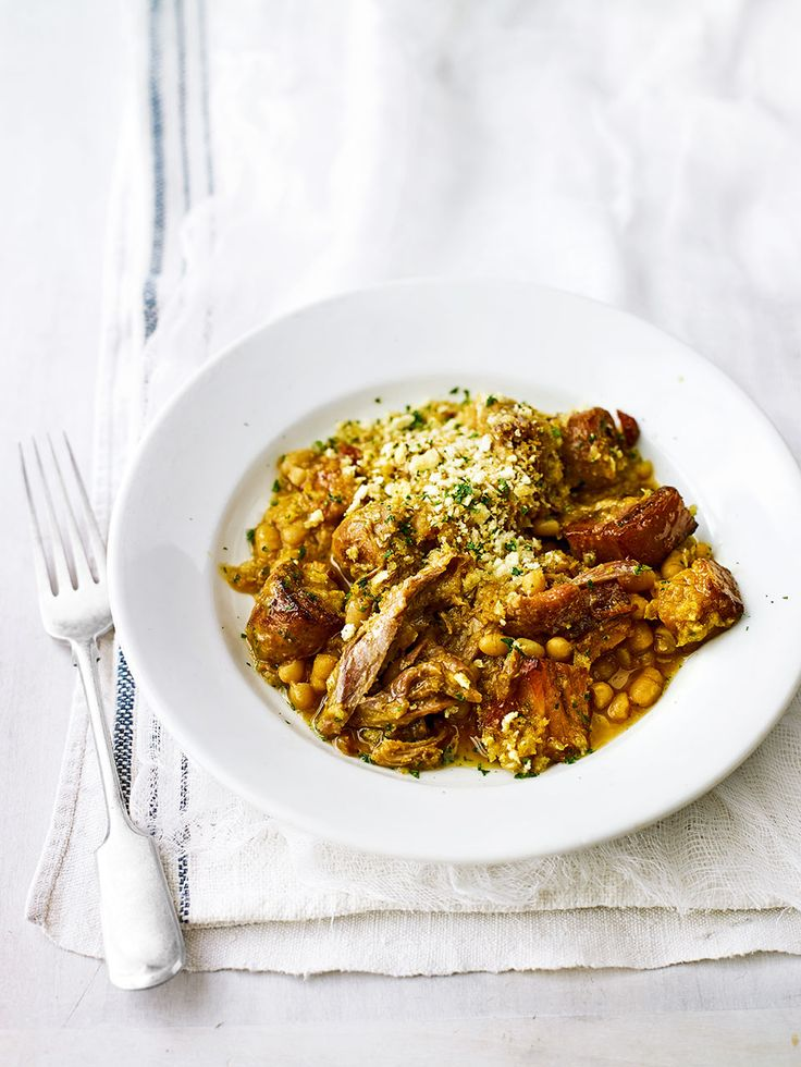 Cassoulet is a traditional French recipe made by slow cooking pancetta, bacon and sausages in a bean and vegetable stew.