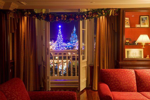 View of the park, Christmas tree, Sleeping Beauty Castle and Xmas decorations seen from the Disneyland Hotel Paris #DLP #DLRP #Disney 2013 by Kris Van de Sande 'Le Château de la Belle au Bois Dormant'