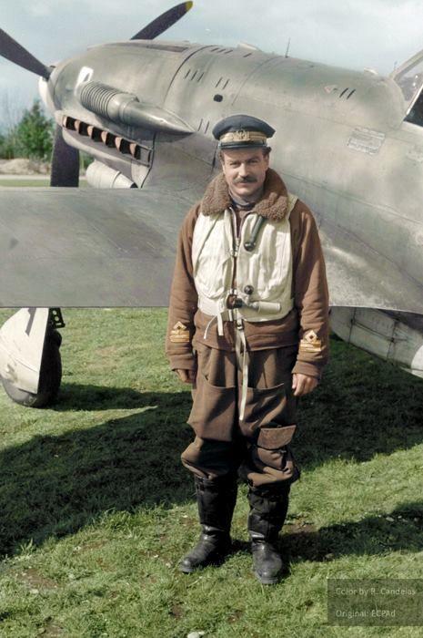 C: Adriano Visconti (11 November 1915 – 29 April 1945), one of Italy's top scoring aces and Commander of the 1º Gruppo Caccia 'Asso di Bastoni' (1st Fighter Group 'Ace of Clubs') poses next to his Macchi Mc-205 'Veltro' (Greyhound). Regia Emilia Aerodrome, April 1944.