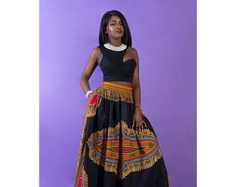 African print skirt Dashiki maxi skirt in purple. by SobaClothing