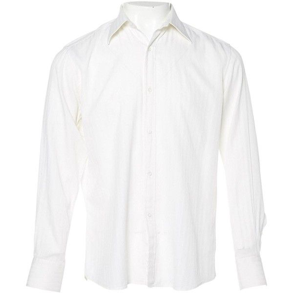 Pre-owned Gucci Shirt ($105) ❤ liked on Polyvore featuring men's fashion, men's clothing, men's shirts, men's casual shirts, ecru, men clothing shirts, mens long sleeve shirts, gucci mens shirts, mens casual long sleeve shirts and mens french cuff shirts