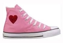 Pink high top Converse with red heart