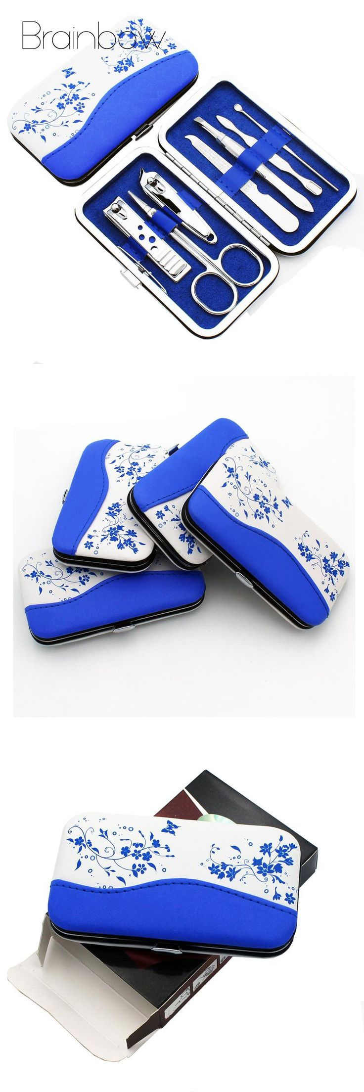 [Visit to Buy] Blue and White Porcelain Case+7 in 1 pc Utility Manicure Set Tools Nail Clipper Kit Nail Care Set Pedicure Scissor Tweezer #Advertisement