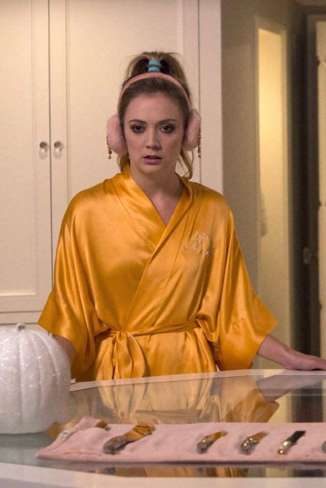 Samantha Bridal Silk Kimono Robe in Orange. Scream Queens