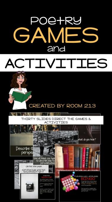 Make poetry fun! This product contains more than ten different games and activities you can use to engage your students as they learn to identify and use figurative language.