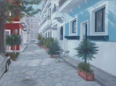 "Saatchi Art Artist ΑγγελικΗ  Aggeliki; Painting, ""This silent hour..."" #art Oil on Canvas.  Size: 30 H x 40 W x 1.5 cm  Preveza > Greece"