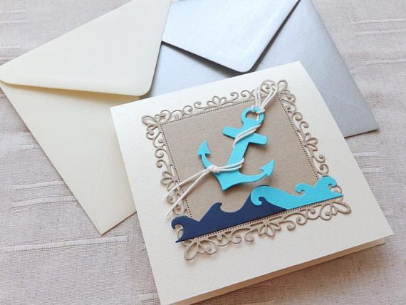 Anchor baby shower invitation/Navy waves invite/Nautical