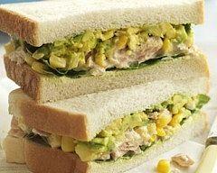 Tuna, sweetcorn, spinach and avocado sandwich... sounds wonderful!