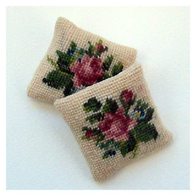 Open House Miniatures - Rose and Forget-me-not needlework miniature cushion. Free pattern