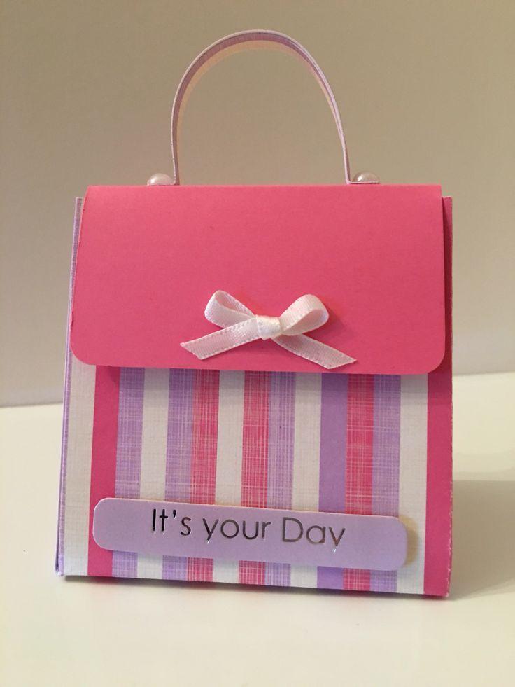Pretty handbag gift box with front opening & pearl/ribbon trim...