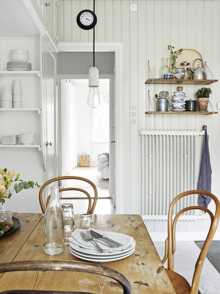 interior, modern, vintage old furniture, dining room, shelving, white, table, chairs, home