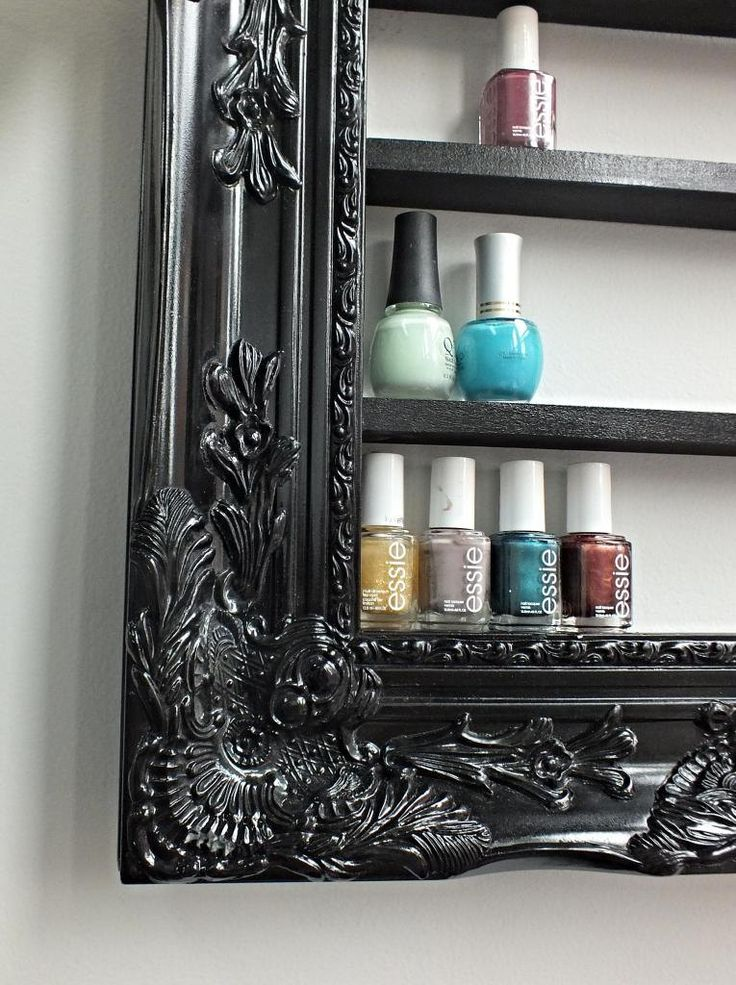 Nail polish shelves in a frame