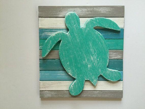 Sea Turtle Beach Wood Wall Art Beach Art by SeaDecoByCaroline
