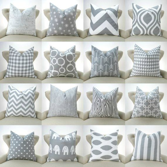Throw Pillow Cover One Grey and White
