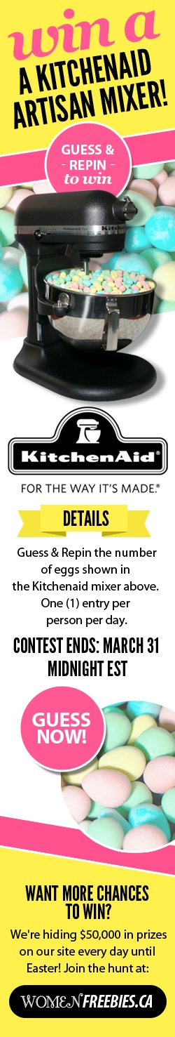 Re-pin and guess how many mini eggs are in this mixer to WIN a KitchenAid Artisan! Write your answer then re-pin to once a day until March 31st to enter!  http://womenfreebies.ca/contest/pinterest-guessing-game/?guess  *Expires March 31, 2013* my guess is:1846