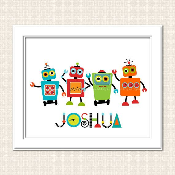 Printable Robot Wall Art DIY Personalized Art  Digital Printable Art -  8 x 10 $8.74
