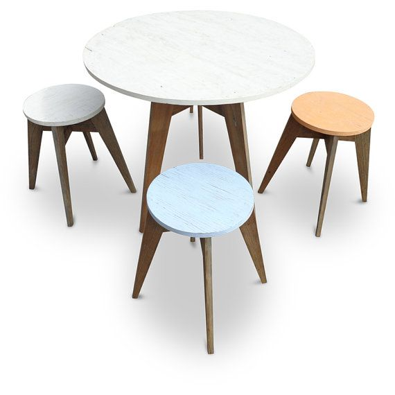 5 PC CAFE Dining Suite - Eco-Friendly / Handmade  /  Recycled Repurposed 1 x Dining Table & 4 Stools Made From Recycled Houses