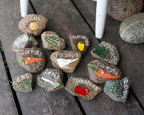 painted rock veggie garden labels