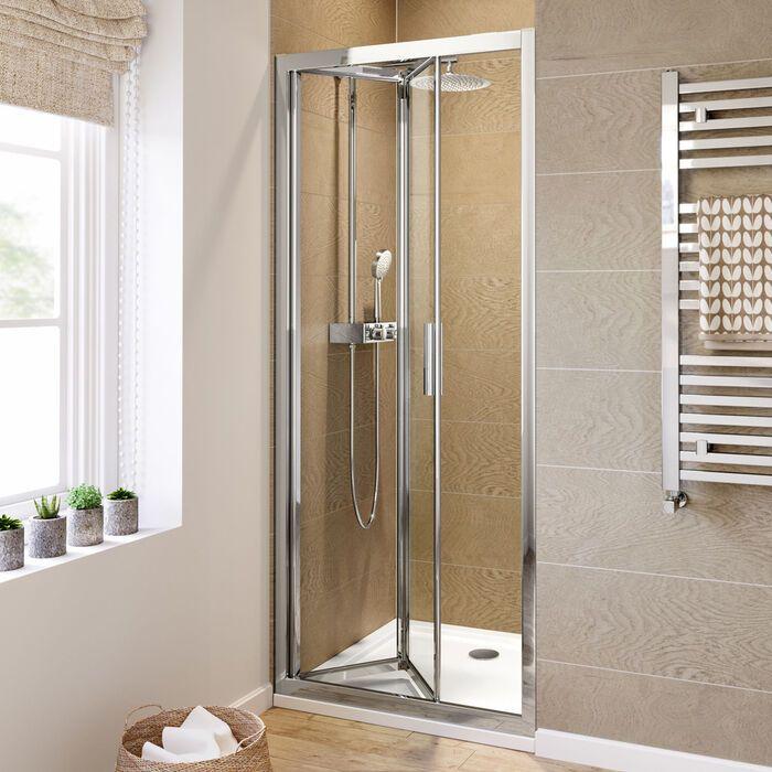 800mm 6mm Elements Easyclean Bifold Shower Door Bifold Shower Door Shower Doors Electric Showers