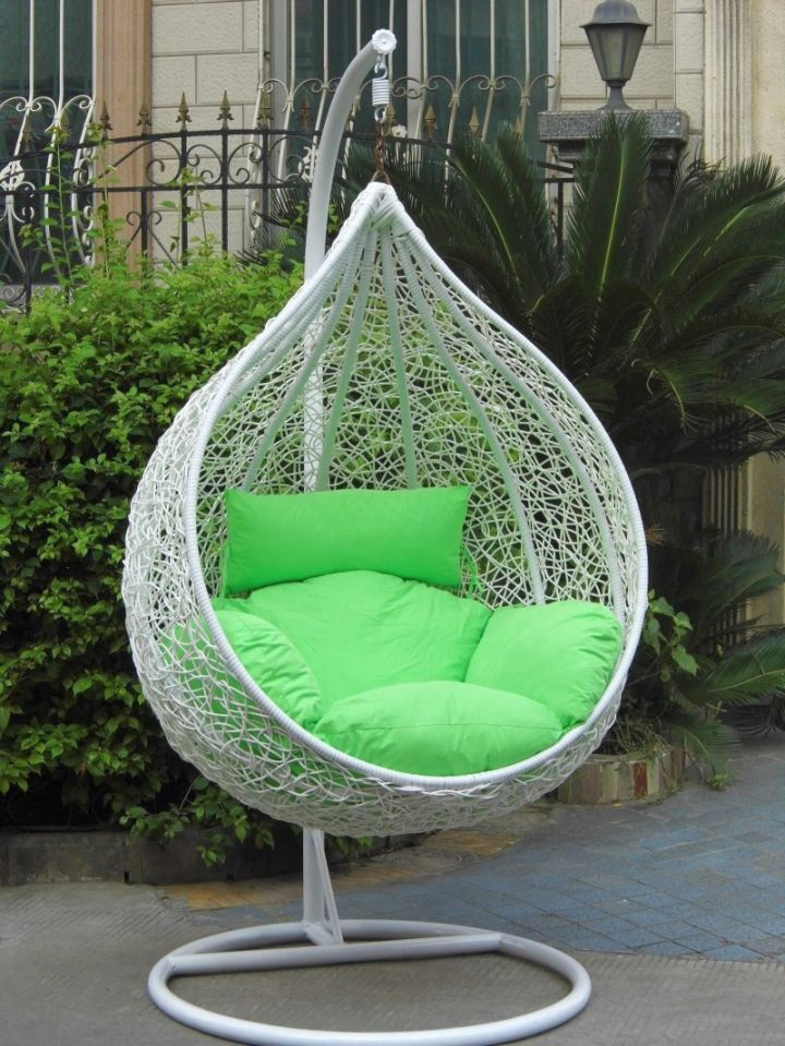 bedroom swing chair in white wicker and