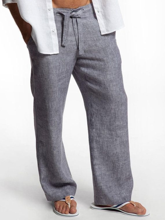 Drawstring  Linen Pants for Men by LittleLilbienen on Etsy