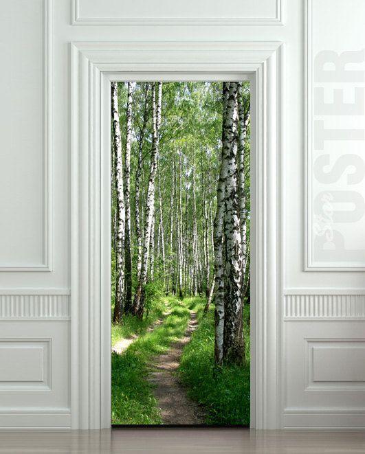 "Way Cool. Wall Door STICKER birch forest road way passageway mural decole film poster 31x79""(80x200cm $29.99:"