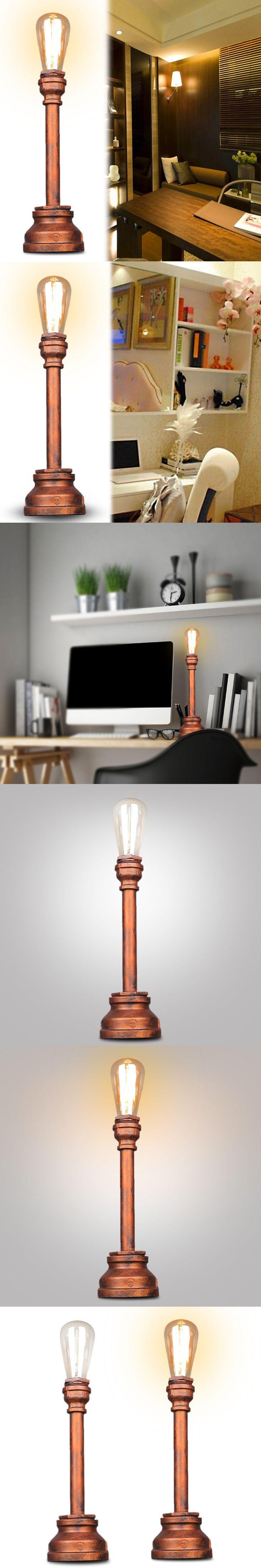 Reading lights for bedroom - Vintage Industrial Table Lamps Study Work Bar Bedroom Reading Lights Loft Water Pipe Table Desk Lights Bedside Lamps Home Decor