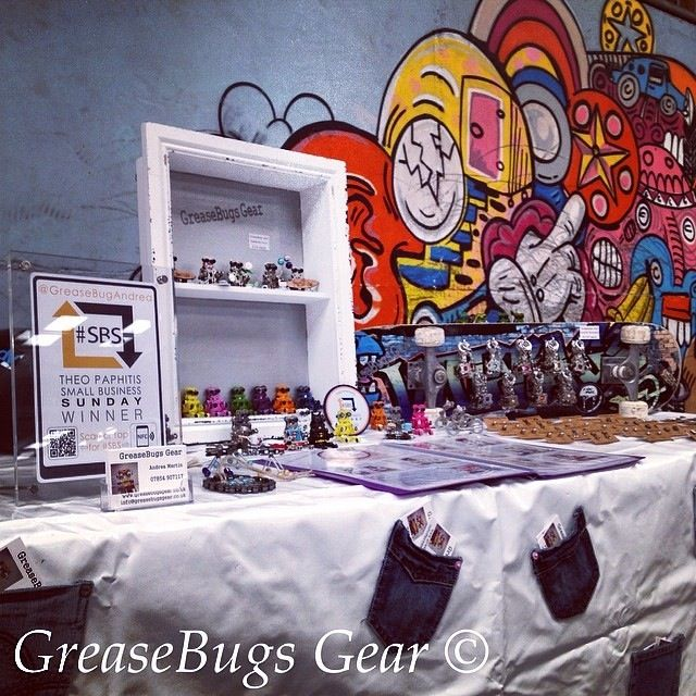 Stall all set and ready for another busy day of trading for #GreaseBugsGear with #SBS winners tag on display #Cornwall #logotag #socialmediamarketing #MountHawke #BMX #skatepark #handmade #recycled #craft #SBSfamily