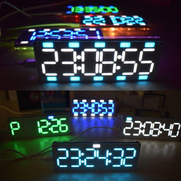 Geekcreit® DIY 6 Digit LED Большой экран Двухцветный цифровой Трубка Рабочий стол Часы Набор Сенсорный контроль
